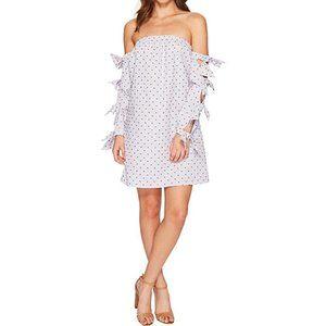 Cece Bardot Striped Polka Dot Pattern Dress